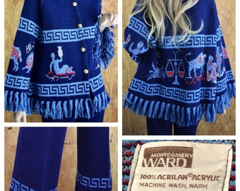 Vintage 1970's Zodiac Sign Astrology Greek Key Knit Sweater & Pant Suit Set 2 Piece Hippie Boho Mod Outfit Size S or M