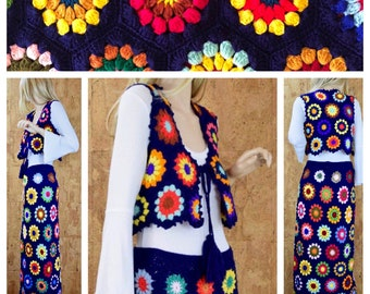 Rare Vintage 1970's Women's Crocheted Psychedelic HiPPiE BoHo Flower Woodstock Maxi Skirt & Vest Outfit Size M