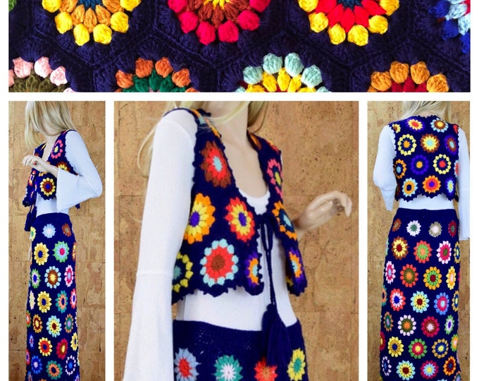Featured listing image: Vintage 1970's Women's Crocheted Psychedelic HiPPiE BoHo Flower Woodstock Maxi Skirt & Vest Outfit Size M