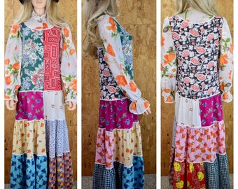 Vintage 1970's Women's Colorful Patchwork Hippie Boho Maxi Prairie Dress Size M