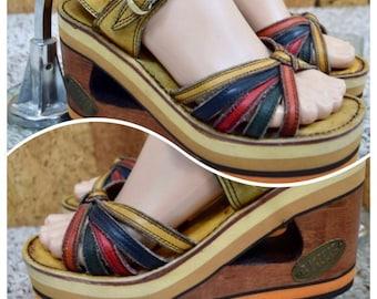 Sz 6.5 Vintage 1970's BUSKENS Women's RAINBOW Wooden Leather Wedged PLaTfOrM HiPPiE BoHo Shoes Sandals Size 6 1/2 M