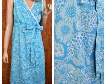 Vintage 1960's 70's Women's The LILLY PULITZER Cheetah Cat Daisy Sunflower Patterned HiPPiE Boho Mod Aline Wrap Style Sun Dress Size M L
