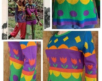 Vintage 1970's Women's Striped PoP ArT Tulip RAINBOW Knit HiPPiE Boho Mod Sweater Size M