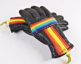 Vintage 1970's Ladies Rainbow Striped Black Leather Ski Gloves - Studio 54 - Women's Size M