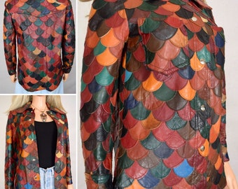 Vintage 1970's Women's Multi-Colored Patchwork Fish Scale Leather HiPPiE Disco Mod Jacket Size S
