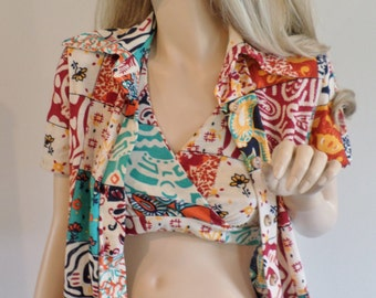 Vintage 1970's The Red Eye PaTcHwOrK HiPPiE Boho Sexy Halter Top & Shirt Iconic CaLiFornia Surfer Girl Size S M