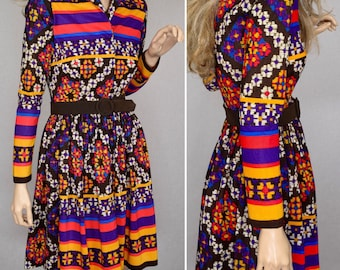 Vintage 1960's Young Society NeOn Striped Aztec Ethnic PsYcHeDeLiC HiPPiE MOD Women's MiNi Dress Size XS
