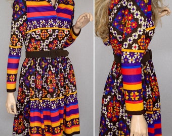 Sale - Vintage 1960's Young Society NeOn Striped Aztec Ethnic PsYcHeDeLiC HiPPiE MOD Women's MiNi Dress Size XS