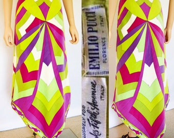 Vintage 1960's EMILIO PUCCI PsYcHeDeLiC VeLveT SpiDeR WeB V- Shaped Op ArT HiPPIE MoD Skirt 10 S M