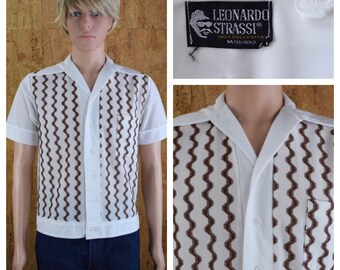 Vintage 1950's | 60's Men's Leonardo Strassi Mod zigzag Rat Pack Kramer Shirt Size S 40
