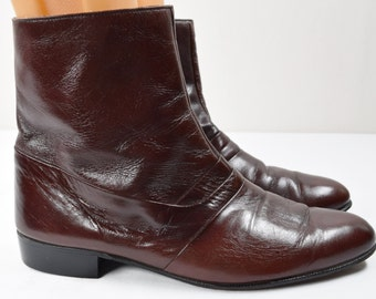 Vintage 1970's Men's Barclay Brown Leather Short Ankle Pimp Rock Star DiScO BOOTS 8.5 8 1/2 D