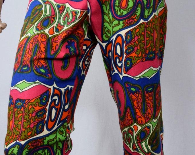 "Vintage 1960's Men's ""LOVE ME"" PsYcHeDeLiC ULtrA MoD HiPPiE Pants Surfer Cabana Summer of Love Size S M"