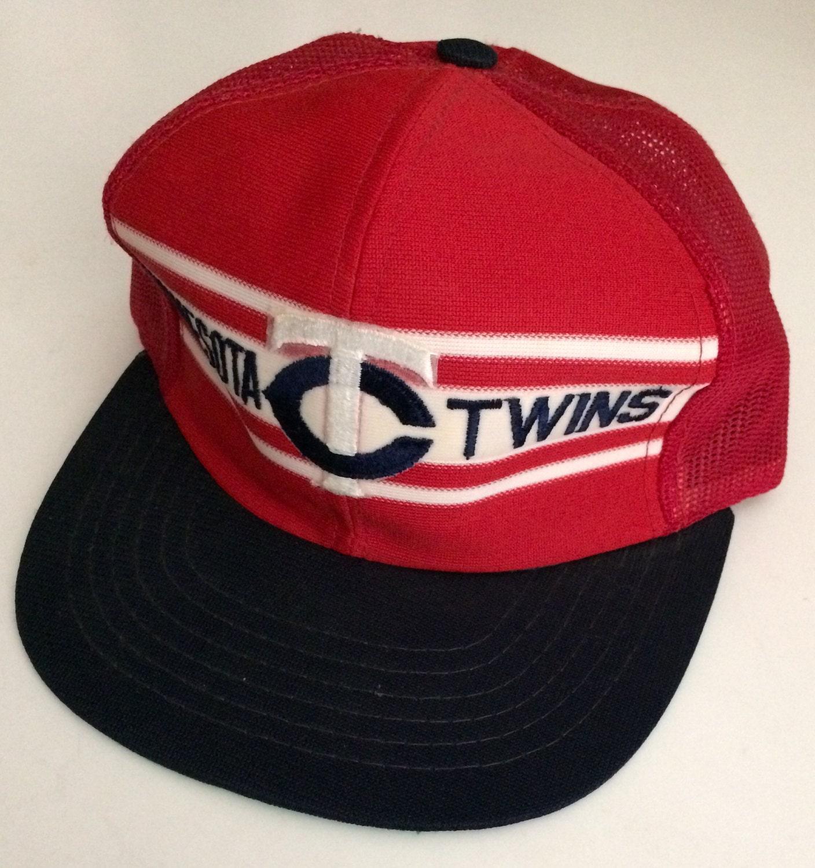 687dbe26ea8 Vintage 1980 s Minnesota Twins Baseball Snapback Truckers Hat ...