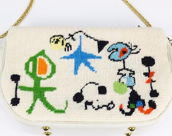 OOAK Rare Vintage 1960's McM JOAN MIRO Hope Women in front of Sun Abstract Surrealist Art done in Needlepoint Handbag Purse