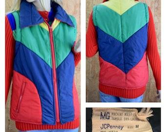 Vintage 1970's | 80's Women's JC PENNEY'S Color Blocked Chevron Striped Rainbow Hippie Hipster Kelso Puffer Ski Vest Size M
