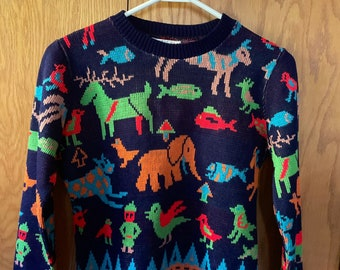 Coming Soon - Vintage 1970's Women's NEON Psychedelic Bird Elephant Fish Turtle Reindeer Nordic Novelty Funky WHIMSICAL Hippie Knit Sweater