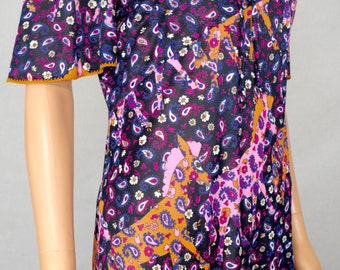 Vintage 1970's YOUNG EDWARDIAN Novelty Psychedelic Horse Maxi HiPPiE Prairie Dress M