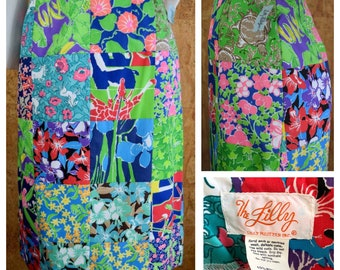 NWT Vintage 1970's The Lilly Pulitzer Patchwork Tropical Animal Seashell Print Hippie Boho Knee Length Skirt Size 6 S / XS
