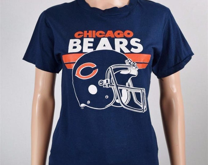 Vintage 1985 1980's 50/50 T-shirt CHICAGO BEARS Walter Payton Helmet Logo Football S M