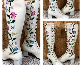 Rare - Sz 6 - Vintage 1960's | 70's Women's Penny Lane Embroidered Flower Laced Canvas Granny Boots Size 6