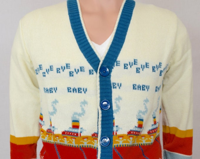 Vintage 1970's Men's Ship Boat Bye Baby NoVeLty HiPPiE HiPsTeR Cardigan Sweater Size S