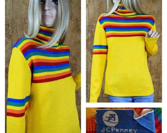 Featured listing image: Vintage 1960's | 70's Women's JC Penney Rainbow Striped Ski Sweater Hippie Sweater Size M / L