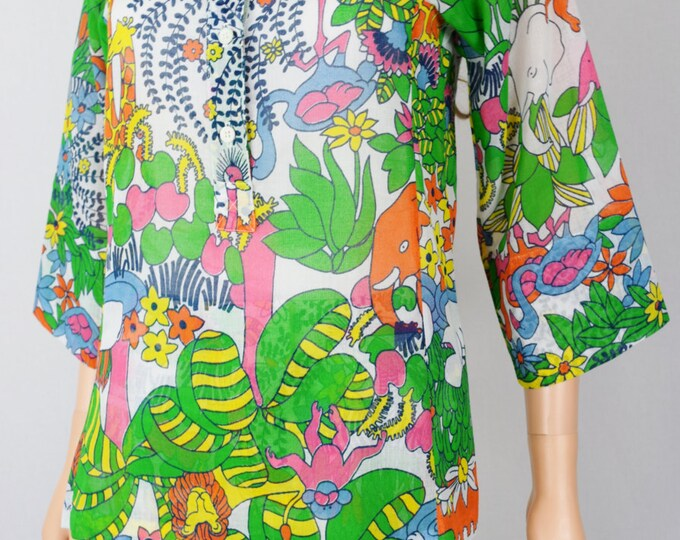 Vintage 1960's 70's Saks Fifth Avenue PsYcHeDeLiC JuNGLe AniMaLs Elephant Turtle HiPPiE PoP ArT Hawaiian Shirt TuNiC Size S