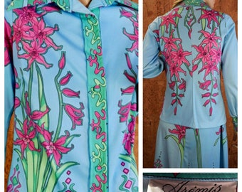 Vintage 1970's AREMIS - Italy Couture Signed 2 pc. Skirt & Shirt Psychedelic Op Art MOD Hippie Boho Outfit Size 10 S / M