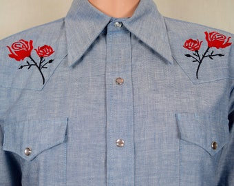 Nos Vintage 1970's Men's Sears Embroidered Rose Western Wear Rockabilly HiPPiE RoCk STaR Shirt Size L
