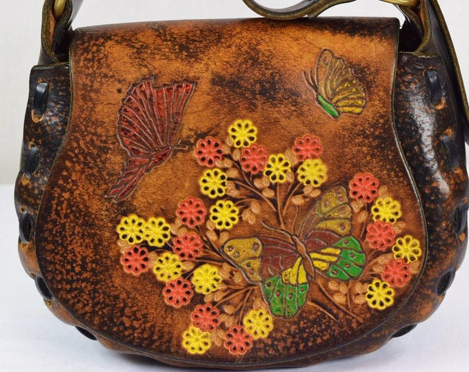 Vintage 1970's BiG Painted BuTTerFLY FloWeRs Hand TooLeD Leather Boho Hippie Handbag Purse