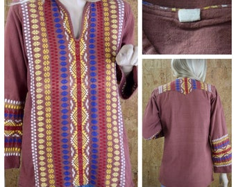Vintage 1970's Native American Aztec Western Embroidered Hippie Boho Woodstock Women's Tunic Top Shirt S M