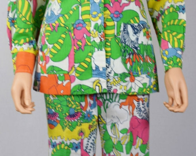Vintage 1960's 70's Gordon of Philadelphia Cartoon AniMaLs Zebra Elephant Turtle Novelty GoLf Pants & Jacket Suit 2 pc Outfit