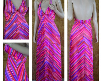 Vintage 1960's CATALINA Neon Striped DISCO Boho Halter Maxi California Beach Wear Swim Dress Size S 10