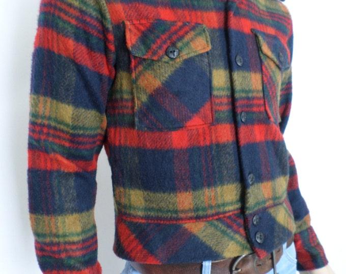Vintage 1950's 60's SEARS Men's Store MoD AtoMiC Era BeaTniK ReTrO WooL PLaiD Jacket S