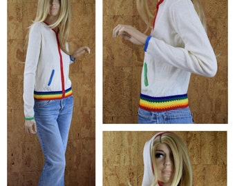 Vintage 1960's Women's Helen Sue Hippie Rainbow Colorful Cropped Hooded Beach Summer Cotton Zippered Knit Jacket Size XS / S