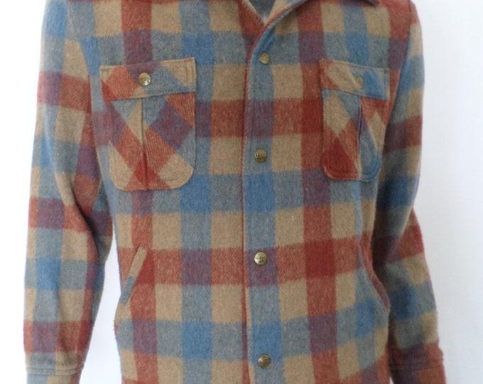 Vintage 1970's Lee ReTrO WooL Men's TarTaN PLAID Jacket HuGe Flared Collar HiPsTeR M L