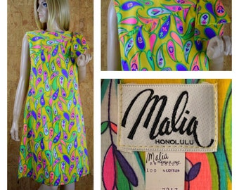 NOS Vintage 1960's Malia Honolulu MOD Psychedelic Neon Paisley Flower Yellow Hippie Go Go Party Shoulder Bow Dress Size 12 M