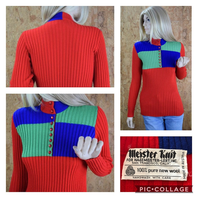 Vintage 1970's Women's MEISTER KNIT Ribbed Wool Red image 0