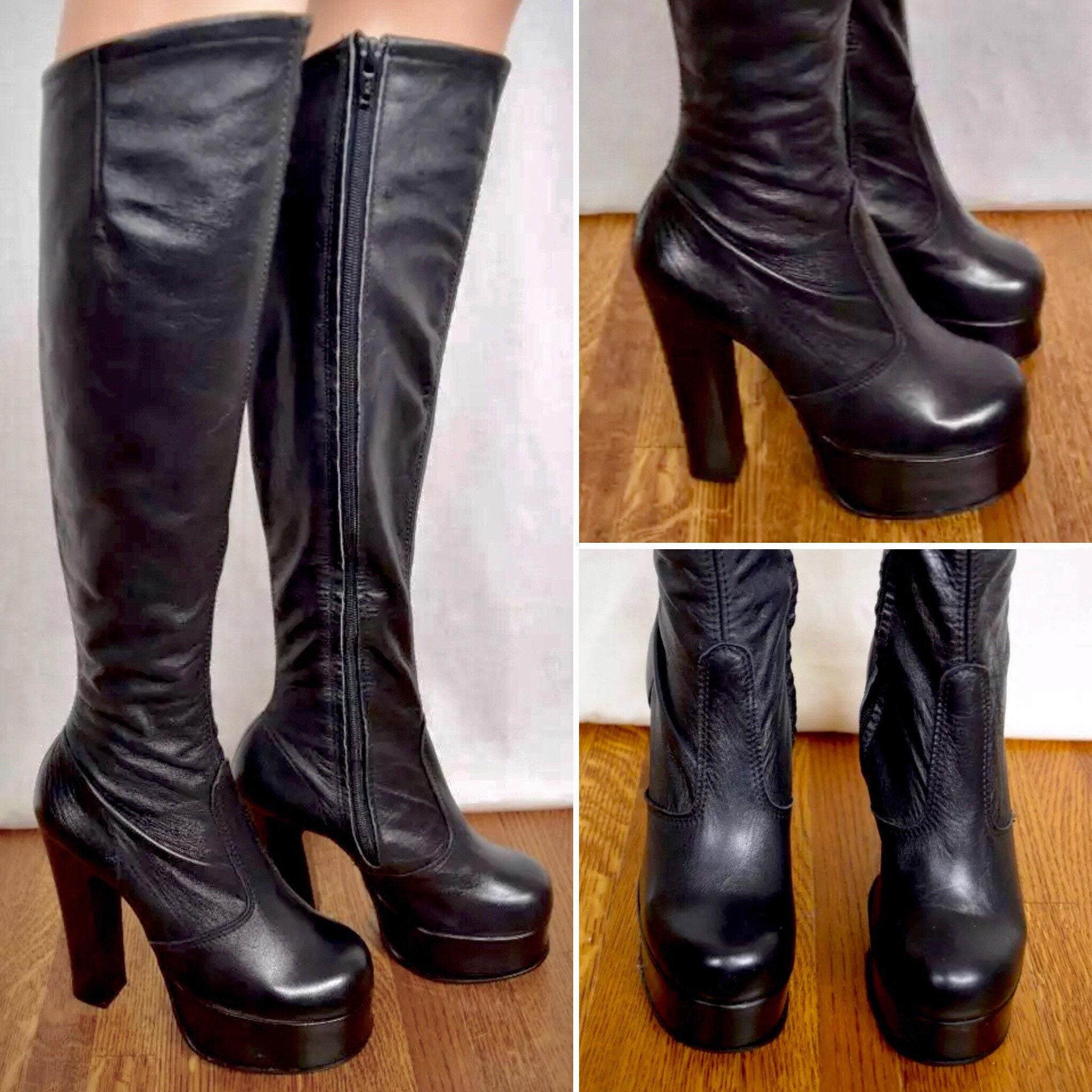 c51a62bd056 Vintage 1970 s Women s HUGE PLATFORM TaLL OTK Black Leather ...