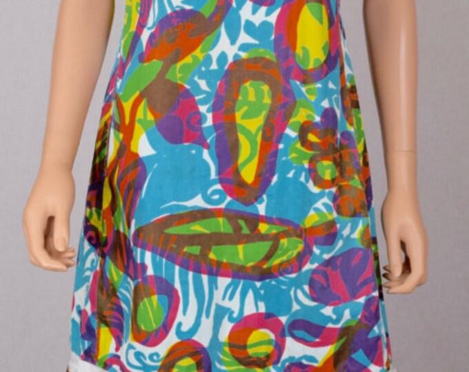 Vintage 1960's The LILLY PULITZER Beach Tropical Hawaiian Neon HiPPiE Mod Dress M L