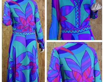 Vintage 1970's EMILIO PUCCI Op Art Psychedelic Mod Silk Outfit Skirt & Blouse Dress 12 M
