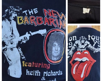 Vintage 1979 Original The New Barbarians Keith Richards Ron Wood Rolling Stones T Shirt