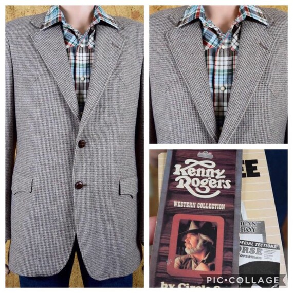NWT Vintage 1970's 80's Hombres Kenny Rogers Western Collection Tweed Wool Hipster Blazer Sport CoatIt Chaqueta Tamaño 42 Largo