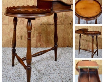 Vintage 1950's Mid Century Cigar Humidor Wooden Side End Table Furniture Smoking Tobacciana