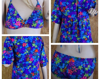 Vintage 1960's Sears Jr. Bazaar 3 Pc. Neon Psychedelic Hawaiian Mod Hippie Bikini Swimsuit & Cover up Cabana Set Size S