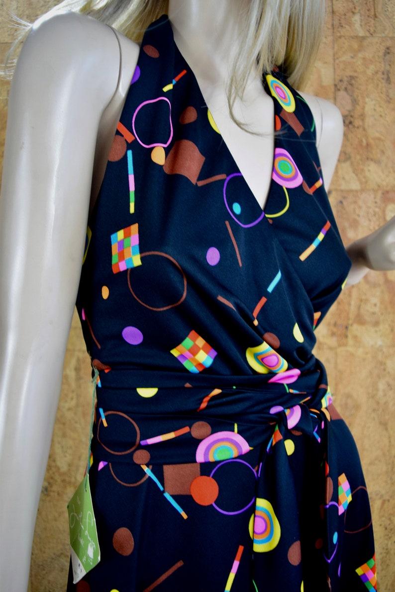 Never Worn NWT Vintage 1970/'s Jonathan Logan Women/'s Rainbow Neon Psychedelic Halter Disco Op Art Maxi Wrap Style Dress Size S 9
