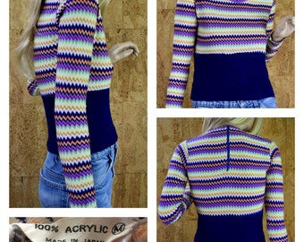 Vintage 1960's Women's Fitted Colorful Zig Zag Chevron MOD Hippie Cropped Knit Shirt Top Blouse Sweater Size S