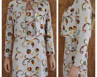 Vintage 1960's Women's MOD Linen Rainbow Embroidered Flower Mini Dress & Jacket 2 Piece Suit Outfit Size XS