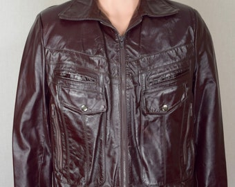 Vintage 1970's Men's Berman's Dark Brown Cropped Disco LEATHER Saturday Night Fever Hipster Rock Star Jacket S 40