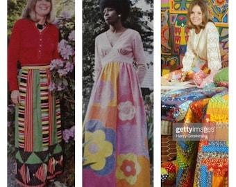 Coming soon - Vintage 1970's Women's Mountain Artisans Neon Patchwork Psychedelic Prairie Maxi Dress HiPPiE Boho Couture Size M